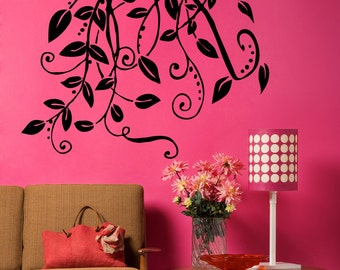 Vinyl Wall Decal Sticker Hanging Leaves and Vines 5326s