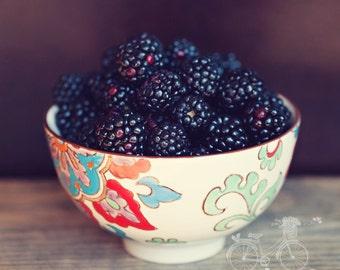Fine Art Print, Blackberry Photo, Bohemian, Indigo, Still Life Art, Cafe Art, Fruit Photo, Kitchen Art, Food Print, Square Art, Berry Print