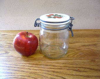 Strawberry Canister Clear Glass Mason Jar Style