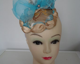 Gold and blue fascinator