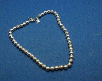 Vintage Ralph Lauren Designer Haute Couture Silver Beads Bead Toggle Necklace AS IS