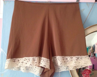 Vintage 1950s, 1960s, chocolate brown & cream Bri-nylon knickers, big pants, French knickers, tap pants. Lingerie. Taylor Woods.