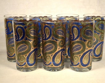 Stained Glass Tumblers Glasses Leaf Design Pattern Gold Look