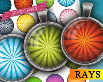 """Rays Digital Collage Sheet 1 inch, 1.5"""", 1.25"""", 30mm, 25mm circles - Digital Downloads for Crafts, Jewelry, Bottle Caps Printable - td352"""
