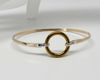 Made To Order Touch of Silver Discreet Slave Cuff 14kt GF & sterling Silver with Anodized Titanium Locking Captive Segment Ring Clasp