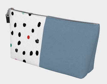Blue and Polka Dote Makeup Bag