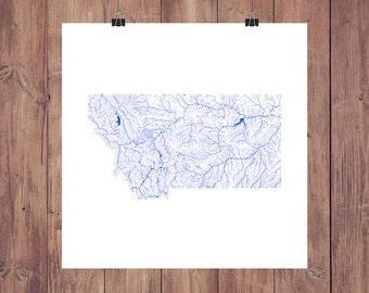 Montana Map - High Res Digital Map of Montana Rivers / Montana Print / Montana Art / Montana Poster / Montana Gift / Montana Wall Art