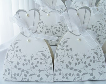 10 Wedding party favour boxes - bride wedding dress favour boxes - wedding/engagement table decorations - wedding table decor - bridal party