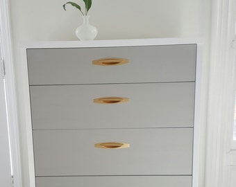 Exceptional Sold#Lovely Mid Century Dresser, Vintage Dresser Painted Gray,white And  Gold,