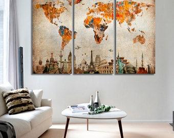 large world map canvas