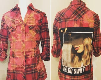 GIRLS upcycled distressed cozy flannel with a Taylor Swift Red patch size M