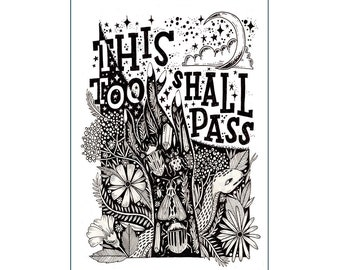 A3 Art Print | This Too Shall Pass | Hand Lettering Illustration