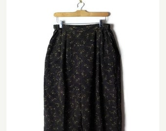 ON SALE Black x  Floral/Polka dost Wide leg Baggy Pants from 90's