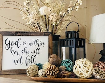 God is within her she will not fall // Southern Charm Farmhouse Fixer Upper // Canvas Art // Christian Graphics // Lettered Custom Design
