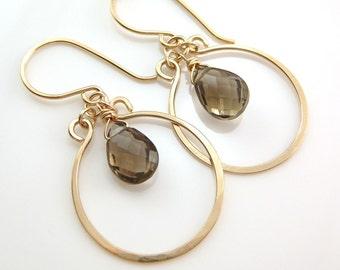 Coffee Brown Chandelier Earrings 14k Gold Fill, Gemstone Dangle Earrings, Smoky Quartz, aubepine