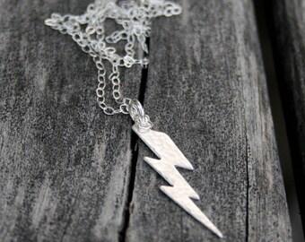 Sterling Silver Lightning Bolt Necklace
