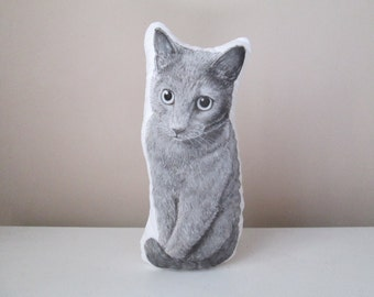 cat plushie soft stuffed animal pet cuddly toy realistic hand painted plush cat softie gift idea for cat lovers