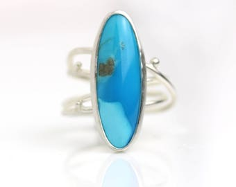 Turquoise Sterling Silver Statement Ring. Size 6.