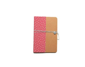 Notebook A6 - pink floral fabric size stars