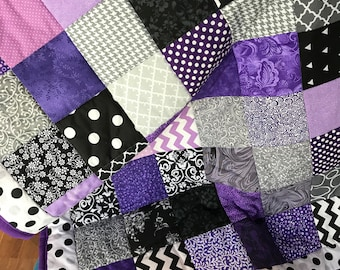 Crib Quilt - Purple Black Grey