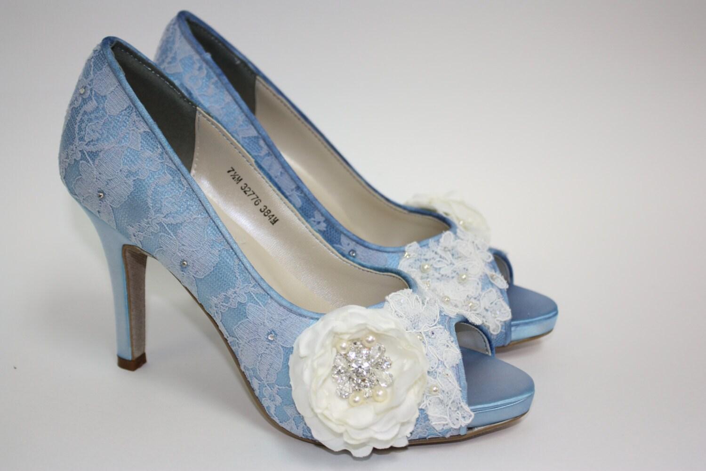 Wedding Shoes Lace Blue Handmade Flower