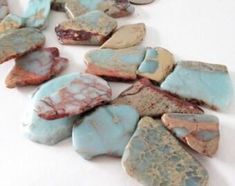 "African Opal Slab Beads - Long Green Brown Pendant - Top Drilled Irregular Gemstone - Loose 2 Sided Beads - 7.5"" - DIY Summer Boho Necklace"