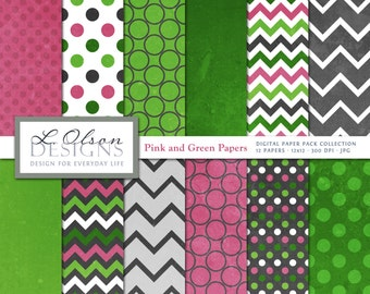 Pink and Green Paper Pack - 12 digital paper patterns - INSTANT DOWNLOAD