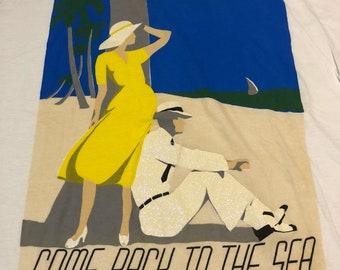 vintage Key Largo come back to the sea diamond dust 2XL white t shirt beachwear