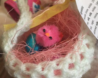 Easter basket with chick and eggs