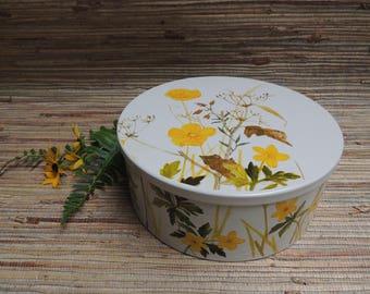 White Wildflower Mid Century Tin Made in Denmark Scandinavian Design