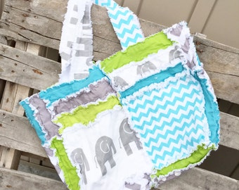 Elephant Diaper Bag - Lime / Turquoise / Gray Diaper Bag - Elephant Purse - Chevron Diaper Bag - Boy Diaper Bag- Large Diaper Bag- Rag Purse