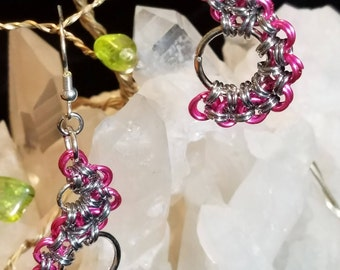 """Hot Pink and Silver Chainmaille """"S"""" Earrings"""