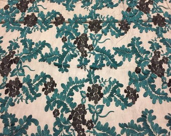 """Floral Embroidered Lace tulle, Black and Green on Black, 7/8+ yard piece with a 4-Way stretch, 52"""" wide"""
