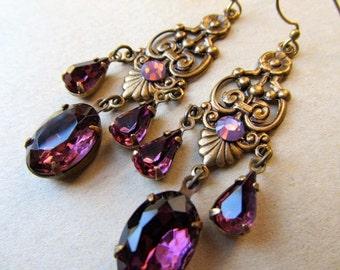Game of Thrones Jewelry Fire Opal Chandelier Earrings Gold Art Deco Art Nouveau Earrings Dark Purple Jewelry- Passion
