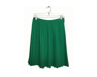 Kelly Green Pleated Skirt