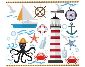 SALE!!! Nautical CLIPART Set Clip Art set of Anchor Octopus Lighthouse Sailboat Crab, Starfish, Seagull PNG Images Clipart Printable Graphic