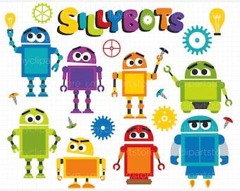 Clipart - Sillybot / Robot - Digital Clip Art (Instant Download)