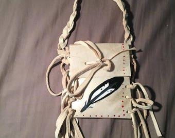 Native American Made feather Parfleche bag Rawhide  medicine bag deer pow wow regalia