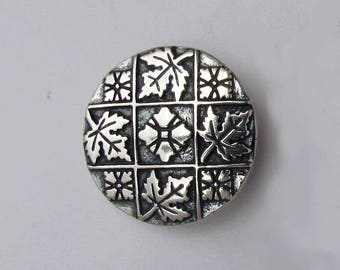 Sterling Silver Button, Maple Leaves, 1 Inch, Made USA, Knitting, Fiber Arts, Jewelry Making, Collectible Button, Sewing, Clothing Button