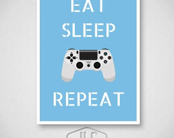 Playstation Video Game Poster, Eat Sleep Game Repeat Print