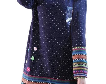 Ethnic Vintage Worm Winter/Fall Polka Dot Printed Stereo Flower Stitching Loose Fleece Dress