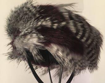 Aubergine Feather Faux Fur Headband