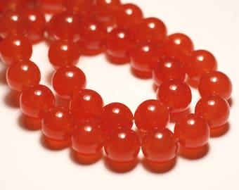 8pc - beads - Jade balls 12mm Orange - 8741140016699