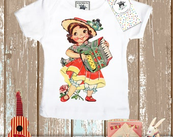 Retro Shirt, Accordion Girl, Tank Top, Accordion Player, Toddler Shirt, Child's Shirt, Tank Top, Raglan Shirt, Organic Bib, Potty Pants
