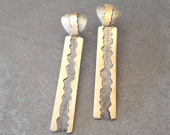 Dramatic Handmade Earrings, Silver and Brass. A River Runs Through Them