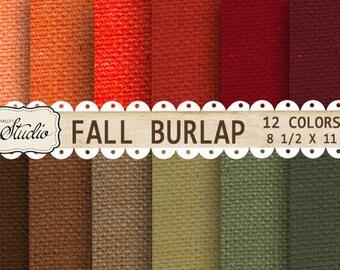 Fall Burlap Paper digital, Autumn Printable Scrapbook Paper, Digital fall texture paper, Jute, Linen, Multi Colors paper, greens