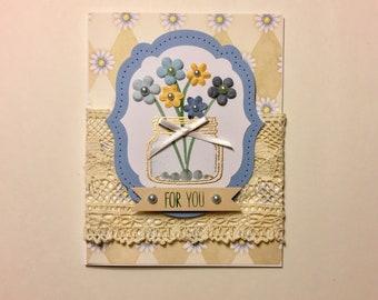 Blue Mason Jar Bouquet Handmade Greeting Card