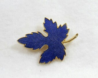 Blue Guilloche Maple Leaf Brooch