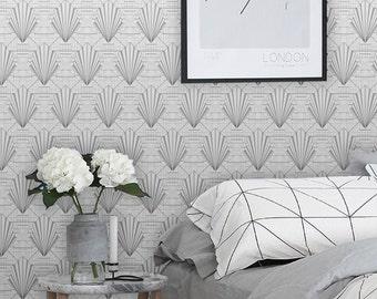Geometric shells/ Geometric wallpaper / Art deco / Self adhesive / Regular wallpaper /  ECO wallpaper / Tapete / Scandinavian design