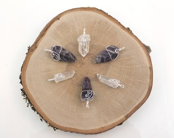 Wire Wrapped Amethyst and Crystal Quartz Pendants, Silver Plated